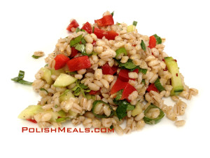 pelled barley veggie salad