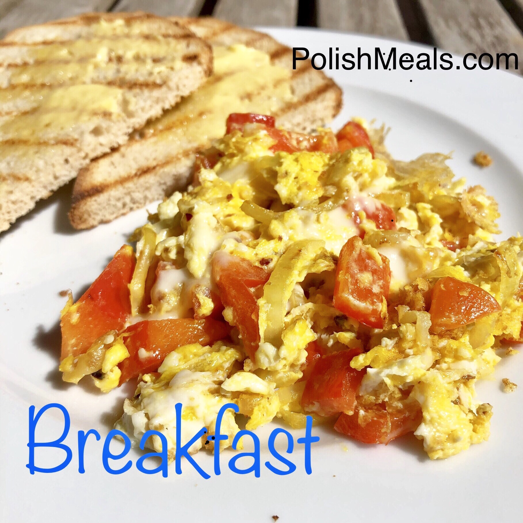scrambled eggs with onion belle pepper